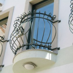 A forged railing - a french window
