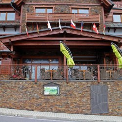 Entrance and terrace railings in the Galileo Hotel, Tatras