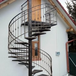 Exterior spiral railings - a cottage
