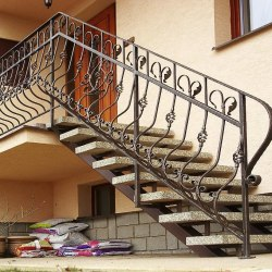 Exterior staircase handrails