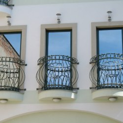 French window forged railings