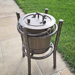 Luxury wrought iron bin with a rack