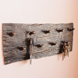 A wrought iron key holder