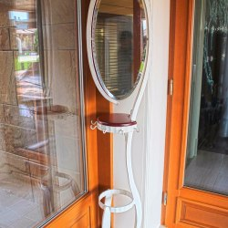A wrought iron mirror