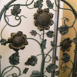 A hand forged grille - sunflowers