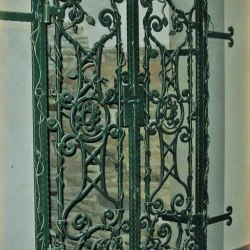 A historic wrought iron grille