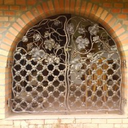 A movable wrought iron grille
