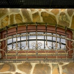A wrought iron grille