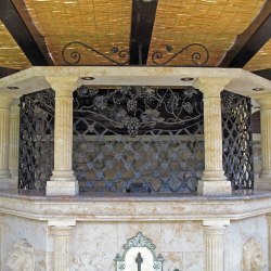 A wrought iron grille in a bar - a hint of ancient history