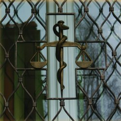 Blacksmithing - a hand wrought iron grille in a healthcare centre