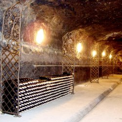 Wrought iron screens in a wine cellar