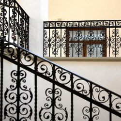 A historical wrought iron railing