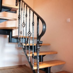 A wrought iron railing in a family house