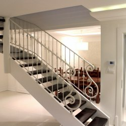 Interior handrails - A wrought iron railing - ivory