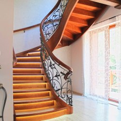 Spiral forged railings combined with wood - Lily pattern