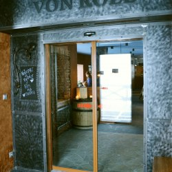 A wrought iron entrance to Von Roll Jasná restaurant - blacksmithing