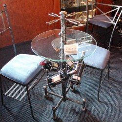 A wrought iron table for wine tasting