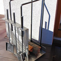 blacksmithing - modern stainless steel firewood rack with fireplace tools