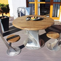 Modern seating on a terrace - rustless furniture