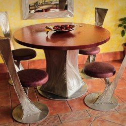 Modern stainless steel tables and chairs